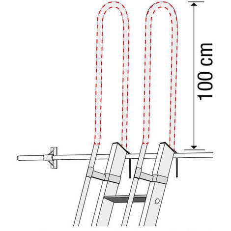 Scala in alluminio per soppalco + 2 mancorrenti laterali + 2 mancorrenti sporgenti verticali