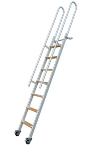 scala in alluminio con mancorrenti laterali e paletti di appoggio in alto